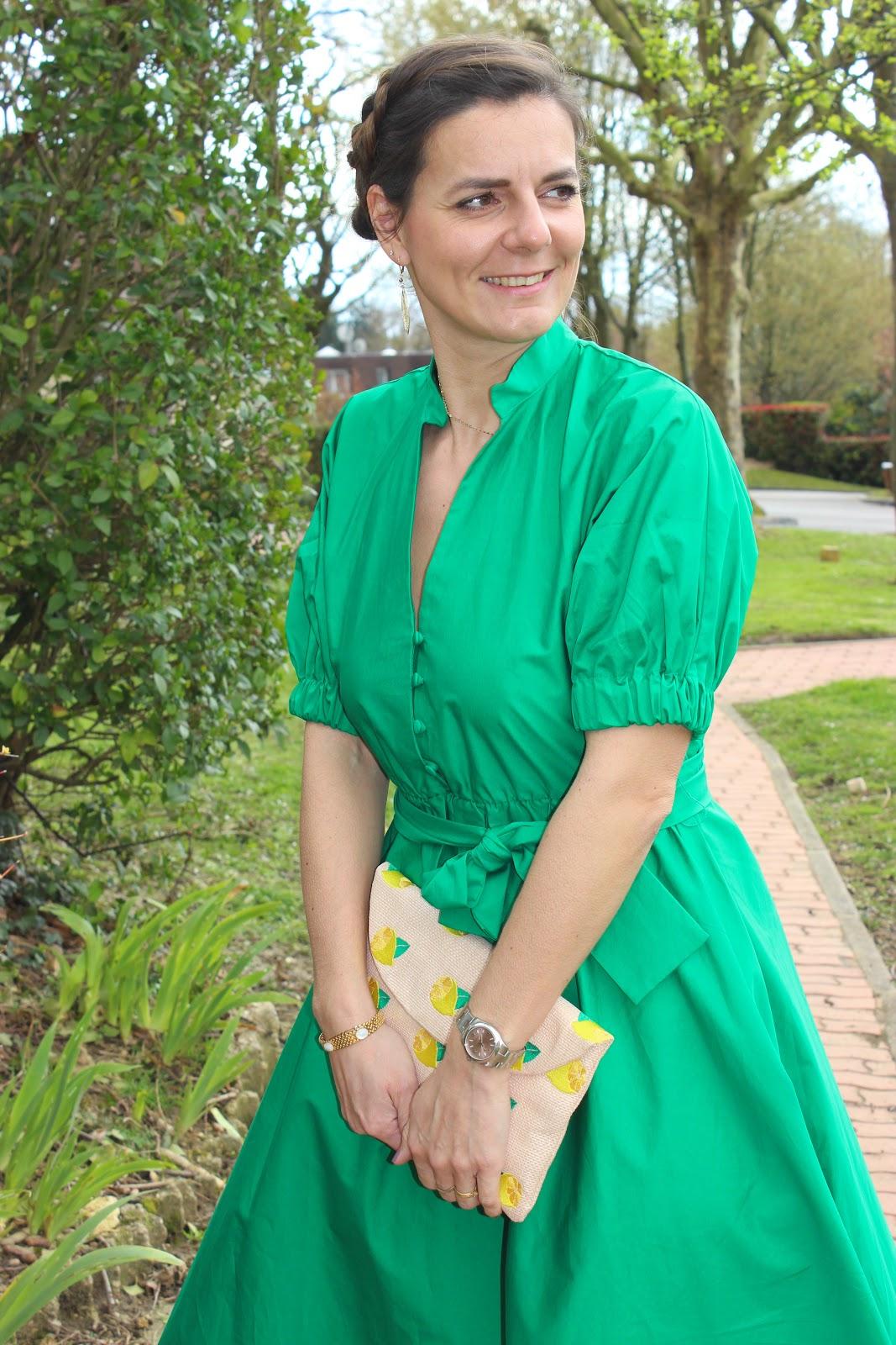 robe verte zara, pochette minelli, escarpins san marina les petites bulles de ma vie