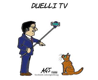 Renzi, elezioni, faccia a faccia, tv, politica, vignetta