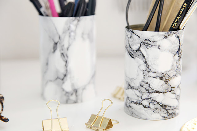 DIY Marble Pencil Holder