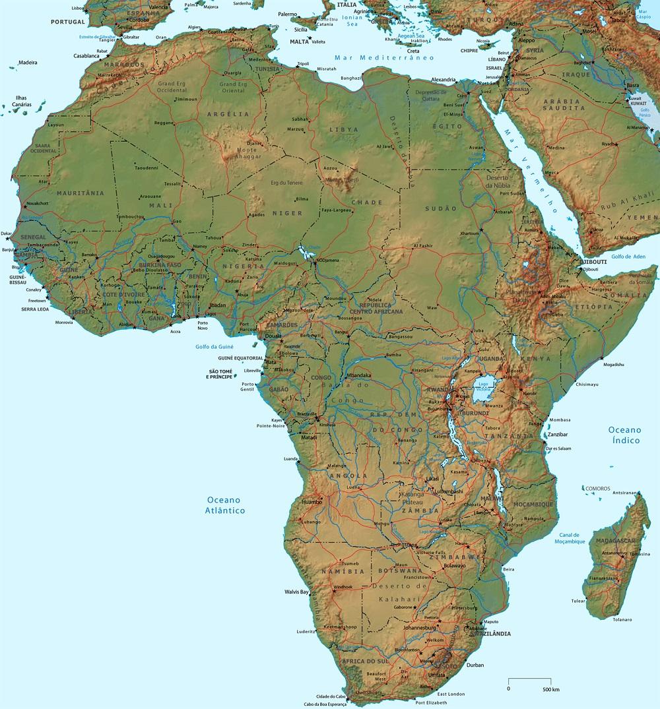 MAPAS FÍSICOS DA ÁFRICA