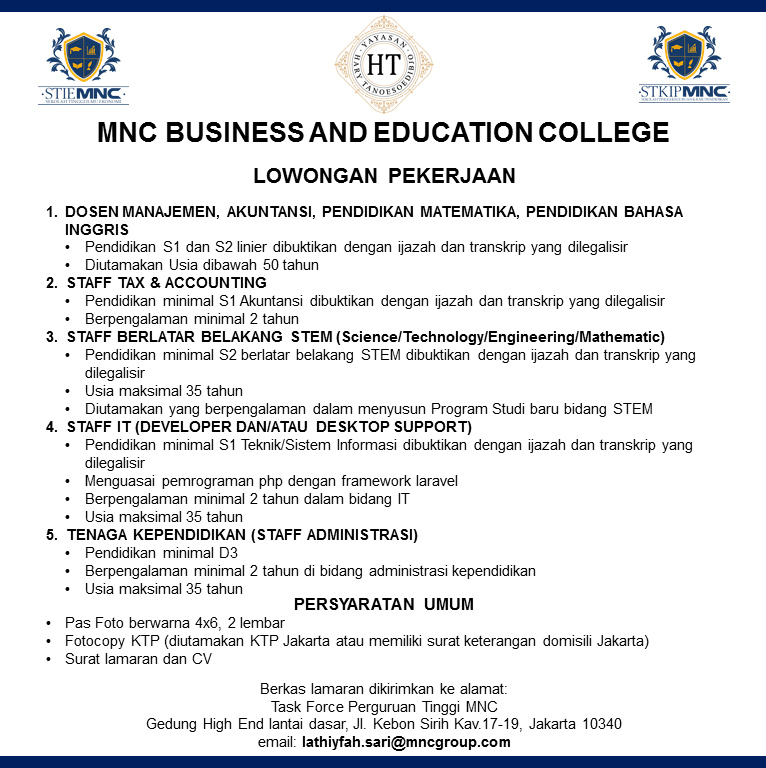 Lowongan Dosen MNC Business and Education College