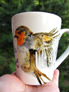 Taza DIY pintada a mano con pájaro