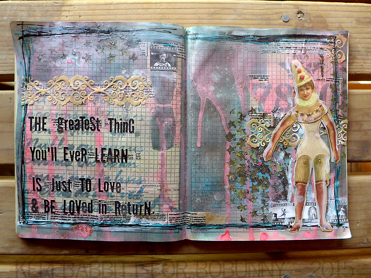 Just To Love Art Journal Mixed Media by Keri Babbitt using Tuxedo Alpha Stickers