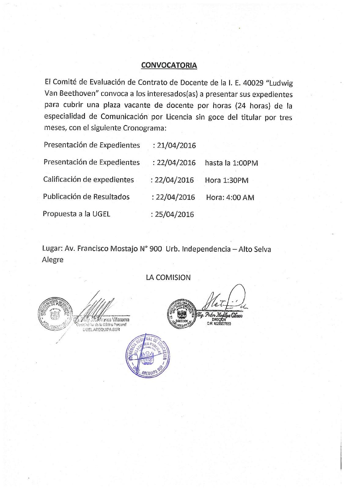 Convocatoria para auxiliar de educaci n i e andrea Convocatoria docentes 2016 ministerio de educacion