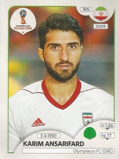 Panini WM 2018 World Cup Russia Iran Jalal Hosseini Sticker 177