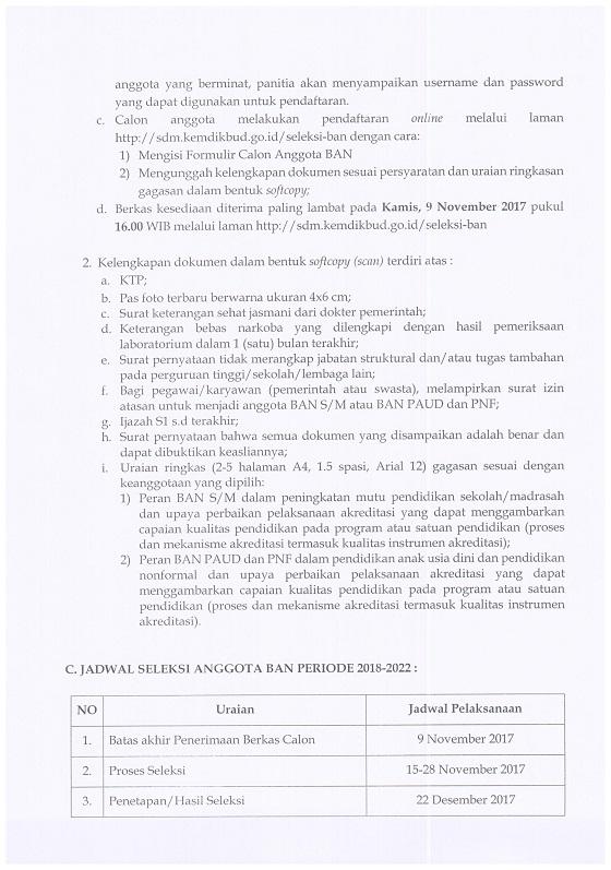 Pengumuman Seleksi Calon Anggota BAN S/M dan BAN PAUD dan PNF Periode 2018-2022