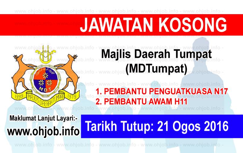 Jawatan Kerja Kosong Majlis Daerah Tumpat (MDTumpat) logo www.ohjob.info ogos 2016