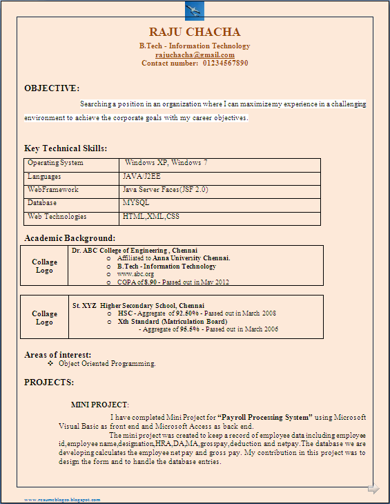 resume blog co  b tech it freshers resume format in word