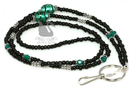 Emerald Swirl Lampwork Black Green Crystal Beaded Lanyard (L02-D2)
