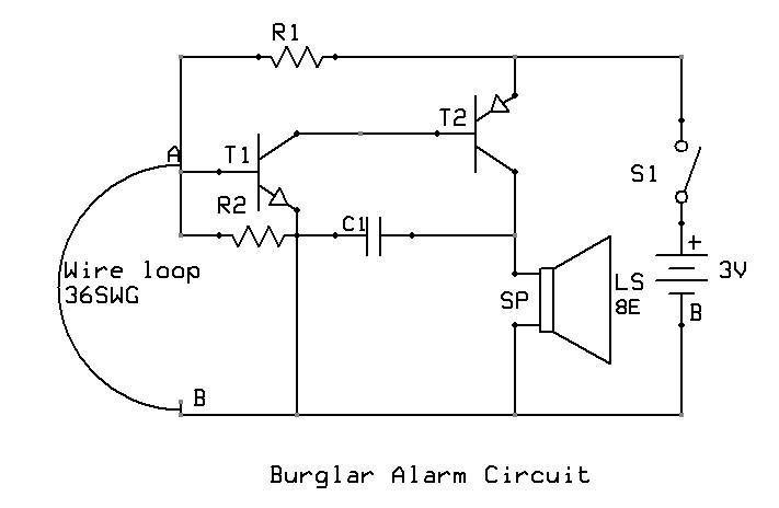 burglar alarm using npn bc548 and pnp sk100  transistor
