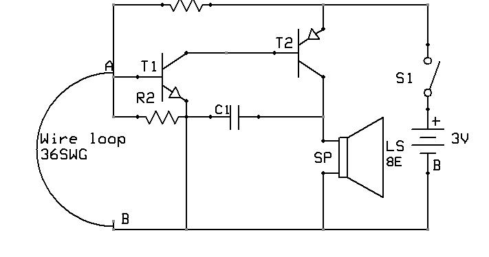 Burglar Alarm Using NPN(BC548)And PNP(SK100) Transistor