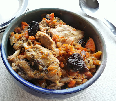 Braised Guinea Fowl with Carrots & Prunes