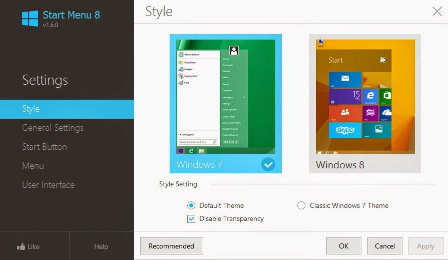 Windows 8 start menu style and types
