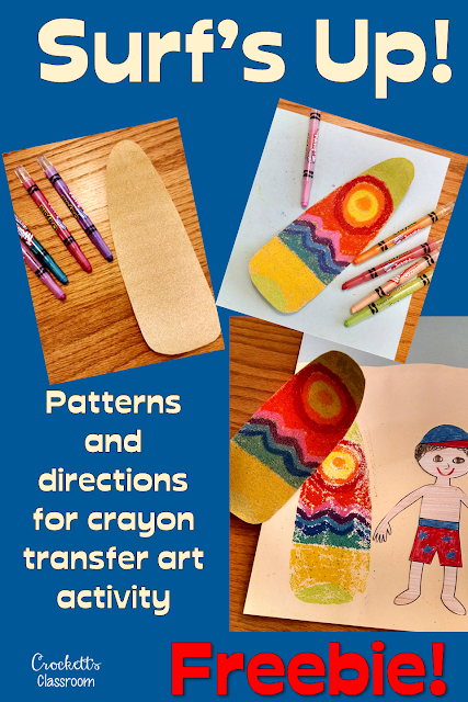 Crayon transfer art activity with a surfing theme.  Kids will love seeing their surfboard design is transferred to the paper with the heat from an iron.  The final result is really eye catching.
