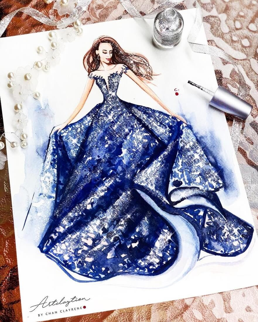 14-Navy-Gown-from-tarikedizofficial-Clayrene-Chan-Drawings-of-Lavish-Flowing-Dress-Designs-www-designstack-co