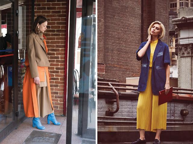 Сочетание оранжевого и голубого цвета в одежде, сочетание красного, синего и желтого цвета в одежде