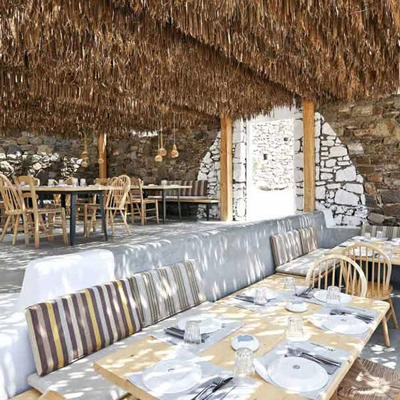 Alemagou Greek tavern in Mykonos. Design by K-Studio, photo by Yiorgos Kordakis