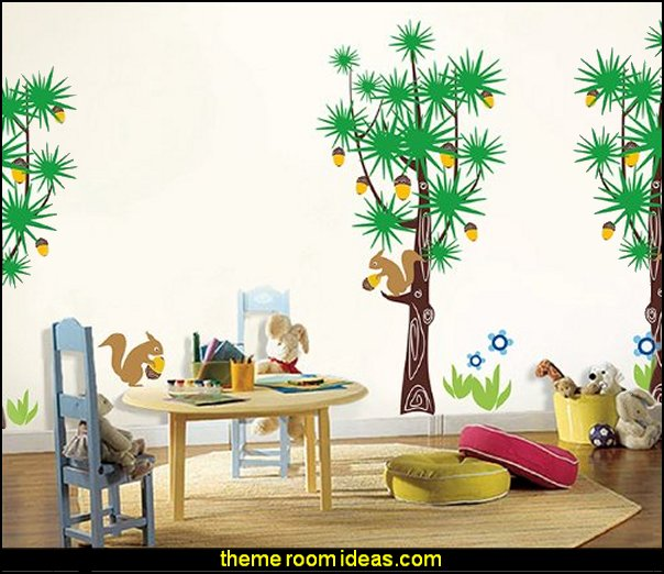 Squirrels and Pine Trees Vinyl Art Wall Decals Mural