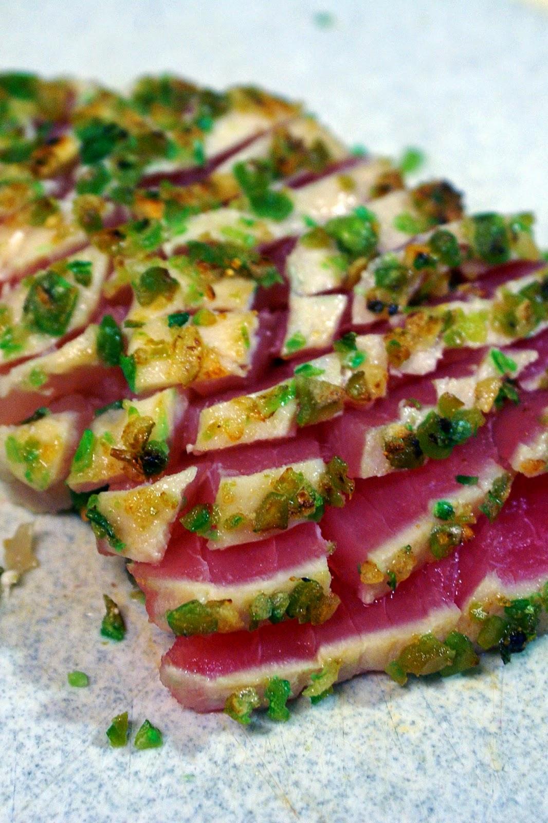 Seared Ahi Tuna with Wasabi Pea Crust