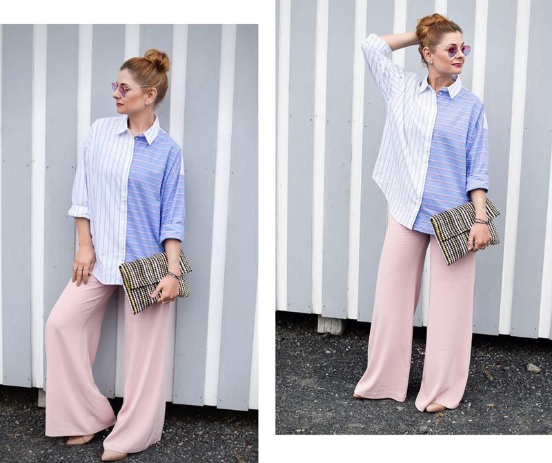 Rosa Palazzopants mit gestreifter Bluse in Hellblau und weiß