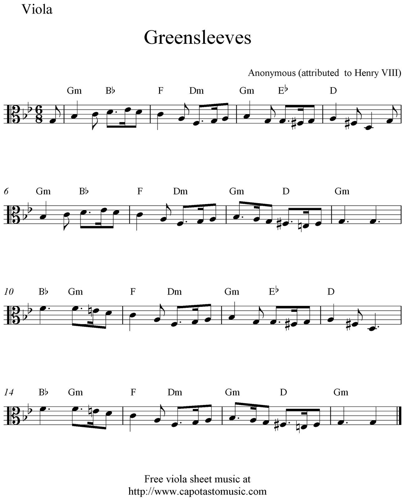 Free viola sheet music, Greensleeves