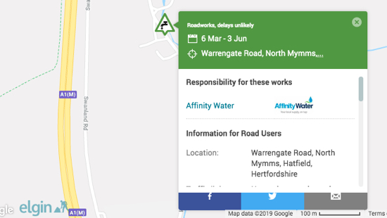 Screen grab of works from the Affinity Water site