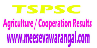 TSPSC 2016 Horticuture Officers Under the Department of Agriculture / Cooperation Results
