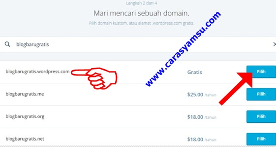 Pilih domain gratis