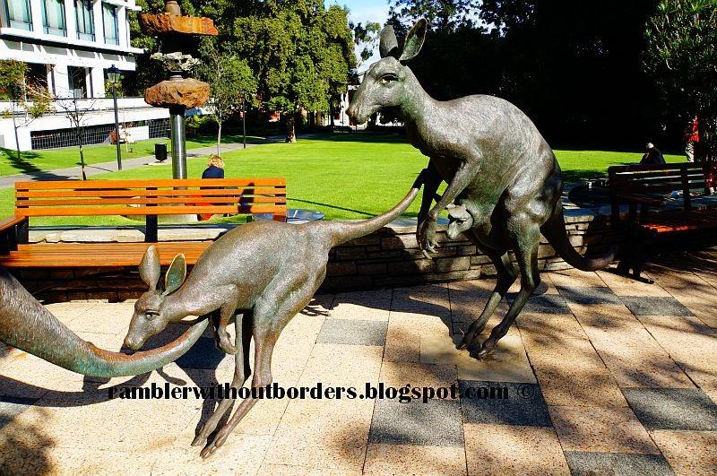 Kangaroos in the City outdoor sculpture, Perth, WA, Australia