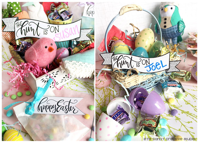 the hunt is on, hand lettered banner, easter tags, Spring Mixed Minis
