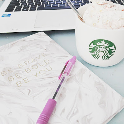 writing thinking inspiration with notebook and starbucks as a blogger