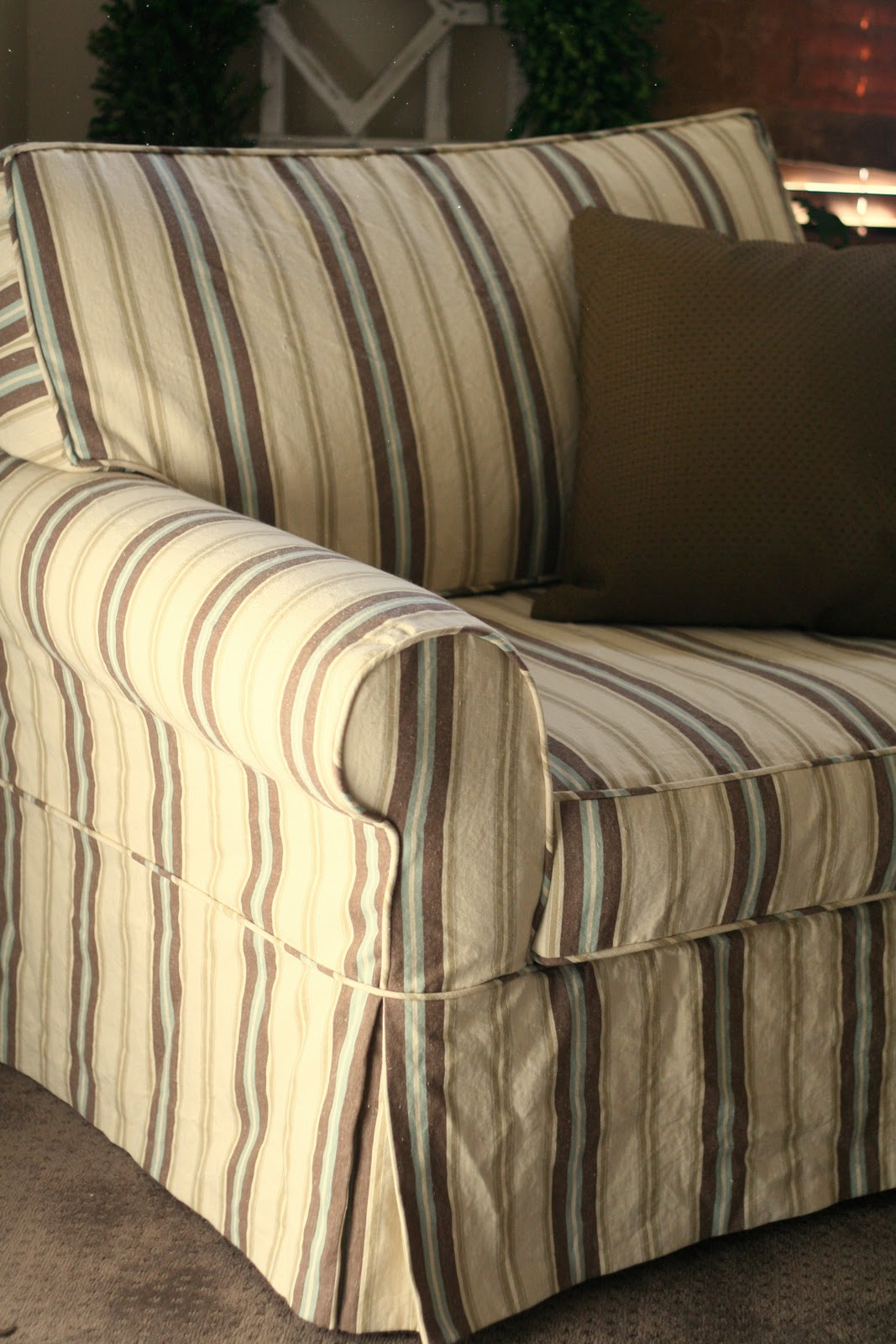 Custom Slipcovers by Shelley: Striped Oversized Chair