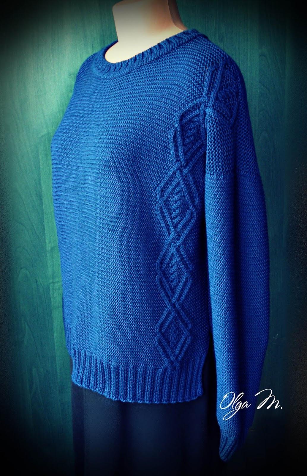 Женский свитер с удлиненной спинкой спицами - Пошивчик