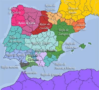 Resultado de imagen de taifa de toledo mapa