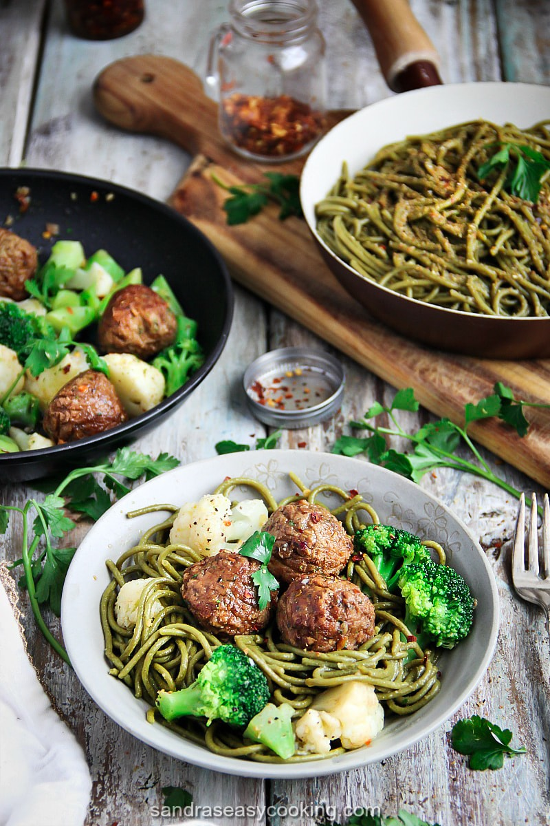 Meatless Meatballs with Cauliflower and Broccoli. For more recipes, visit my blog SandrasEasyCooking.com #recipe #vegetarian #meals #cooking #healthyfood #feedfeed #eat #cook #foodblogger #blogging
