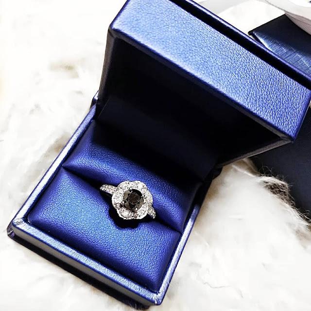 flower style black diamond halo ring