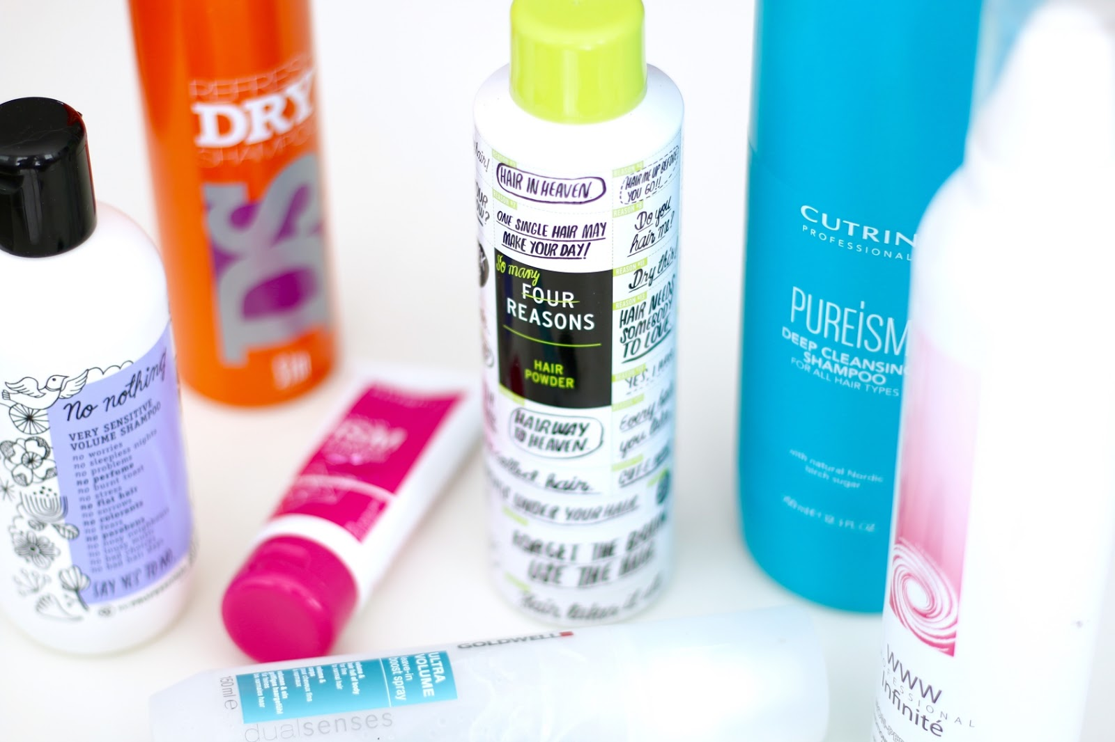 Four reasons hair powder, sim sensitive dry shampoo, no nothing shampoo, haircare empties
