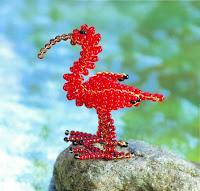 Красный ибис - птица из бисера. Схема