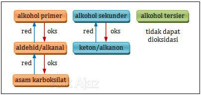 Bagan oksidasi alkohol primer, sekunder, dan tersier