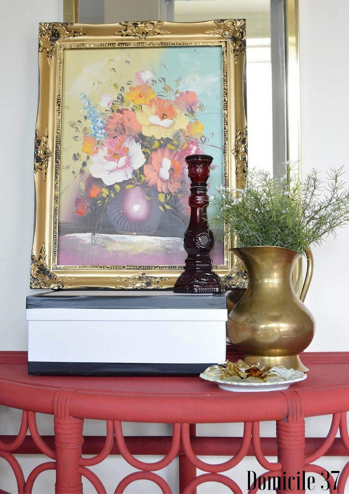 DecoArt Rouge, DecoArt Americana Chalk Paint, Chalk paint on Rattan, Painted Rattan, Foyer, Eclectic Decor, Small Foyer, Brass home decor, Vintage Eclectic, Mix and match home decor, Before and After painted rattan, Before and after painted furniture