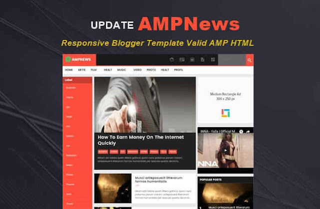 AMPNews Valid AMP HTML Blogger Template