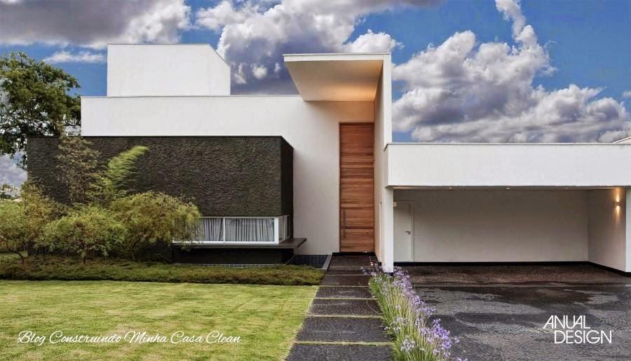 Construindo minha casa clean fachadas de casas com portas for Casa moderna 100m2