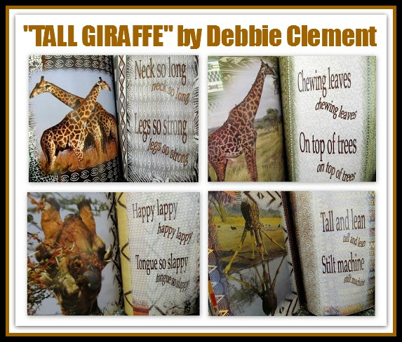 "photo of: ""Tall Giraffe"" picture book illustrations, text by Debbie Clement"