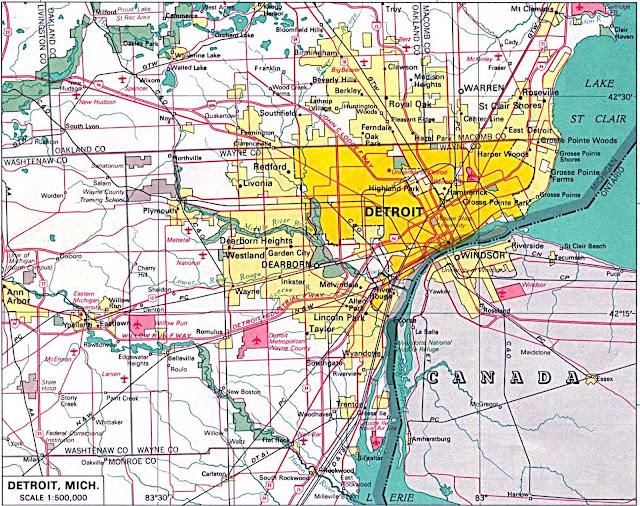 mapa da região de Detroit