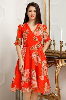 rochie portocalie scurta de ocazii de vara.