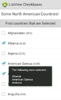Android ListView Checkbox Example