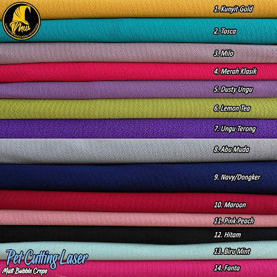 Khimar bubble crepe model pet dengan cutting laser