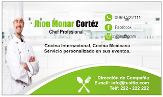 Tarjeta personal para chef