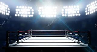 Een lege boksring in de spotlights