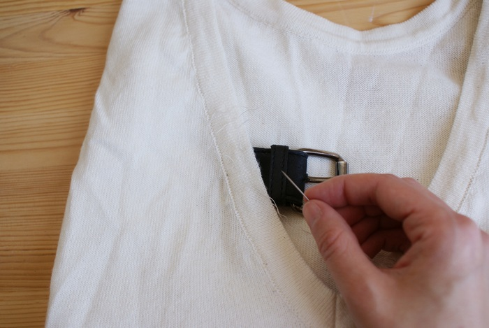 diy buckle neck sweater
